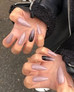Mauve with Ombre Accent on long Almond Nails 👌 Matte Nails, Glitter Nails, Gel Nails, Acrylic Nails, Stiletto Nails, Coffin Nails, Long Almond Nails, Long Nails, New Nail Designs
