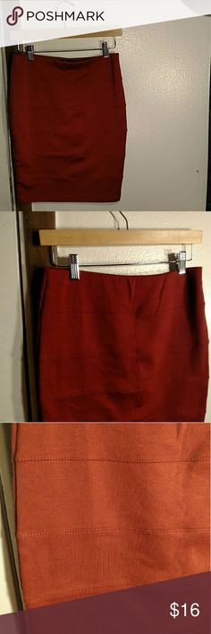 Burnt Orange Bodycon Skirt Horizontal strips across, gorgeous burnt orange color (my lighting wasnt working out too well on it.) Falls to approximately just above the knee, depending on your height. Xxi Skirts