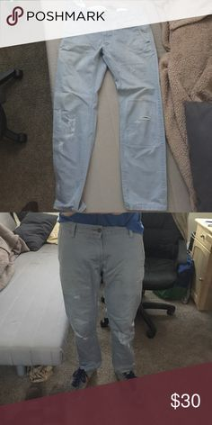 Dockers Alph(a) Khaki (blue) Ripped mellow blue khakis, awesome quality, w32, L30. These pants are amazing, just don't fit them any more. But they got me a lot of compliments! Dockers Pants Chinos & Khakis