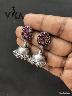 Silver Jewellery Indian, Silver Jewelry, Silver Earrings, Silver Jhumkas, Drop Earrings, Jewelry Design Earrings, Gold Jewellery Design, Metal Jewellery, Diamond Initial Necklace