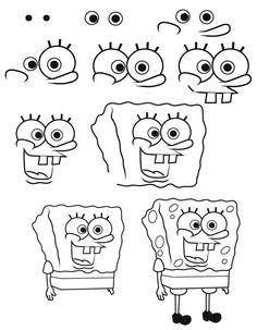 Drawing videos for kids to learn art with easy and step by step - ART Drawing Spongebob Drawings, Simpsons Drawings, Easy Cartoon Drawings, Drawing Cartoon Characters, Cute Easy Drawings, Pencil Art Drawings, Disney Drawings, How To Draw Spongebob, Anime Characters