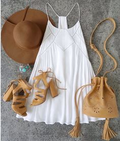 White Aline sundress with suede block heeled sandals , bucket bag and floppy hat. Perfect for festival season! Lulus.com