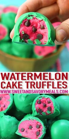 Watermelon Truffles are a fun, tasty and colorful summer treat. Easy to make, with just a few ingredients, these are also no bake. desserts videos cupcakes Watermelon Truffles - No Bake [VIDEO] - Sweet and Savory Meals Fun Baking Recipes, Sweet Recipes, Cooking Recipes, Dessert Recipes For Kids, Rib Recipes, Chicken Recipes, Cooking Bacon, Cabbage Recipes, Easter Recipes