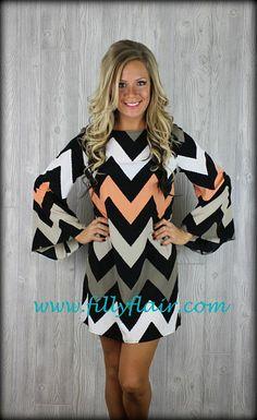 Sweet Peaches and Cream Chevron dress-Pre-order: Filly Flair