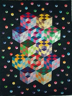 Inside, Outside, Upside Down Quilt <<>> an Optical Illusion Quilt <<>> <<>> Crafted by Julie Maas <<>> <<>> by Karen Combs <<>> Quilting Tutorials, Quilting Projects, Quilting Designs, Geometric Quilt, Hexagon Quilt, Tumbling Blocks Quilt, Quilt Blocks, Paper Piecing, Optical Illusion Quilts