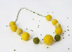 Felt Necklace,Felted Bead Necklace,Felted Ball Necklace,Yellow necklace,beads,eco-frienly, jewelry, felt beads,Every bead was hand felted by JirsaFELT on Etsy