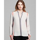 Elie Tahari Marguerite Color Block Silk Blouse