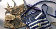 Trois pochettes en crochet et tricot