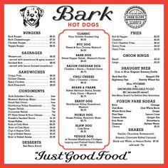 Art Of The Menu Bark Hot Dogs Dog Restaurants Sausage Food
