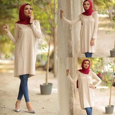 creamy-tunic-hijab-style- Hijab casual wear 2017 http://www.justtrendygirls.com/hijab-casual-wear-2017/