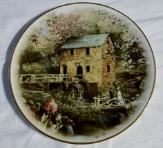 """""""Old Mill Stream"""" Collector Porcelain Plate by Arkansas Artist Glynda Turley #Decorative #WhiteOakPorcelain"""