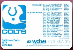 1979 BALTIMORE COLTS FORD MOTOR COMPANY FOOTBALL POCKET SCHEDULE FREE SHIPPING #Pocket