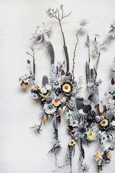 Artist Anne Ten Donkelaar, Flower constructions, collage.