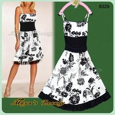 Black White Midi Dress Casual Appear Flower Print by MayasBeauty, $59.00