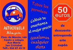 50€ de descuento en AUTOESCUELA ALBAYZIN ¡¡DALE LA VUELTA AL TICKET!! en la Cafetería de Filosofía de la UGR