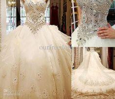 Wholesale A-Line Wedding Dresses - Buy 2013 Custom Made Hot ALine Cathedral Train Beading SWAROVSKI Luxury Crystals Dress for Wedding Bridal...