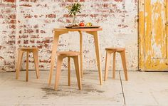 Table and Stools by Gratton, furniture design, Melbourne, Victoria. See more in our interview with Makers Lane - connecting Australian artisans and craftsmen with clients: http://www.merchantandmakers.com/makers-lane-australia/