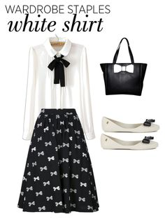 """""""Black and White Bow Kind of Night<3"""" by soccerstar59777 ❤ liked on Polyvore featuring WithChic, Chinti and Parker, Melissa, Kate Spade and WardrobeStaples"""