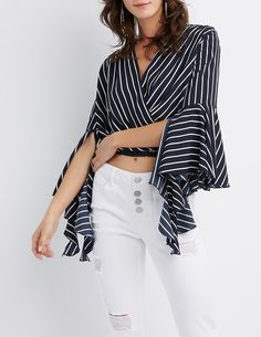 f233481efb Charlotte Russe Striped Bell Sleeve Wrap Top Couro