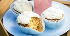 Make sure everyone saves some space for these cute carrot cupcakes covered with a citrus-infused cream cheese topping.