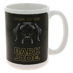 The force is strong with you, but you just can't resist a lovable canine! Encourage others to come to the bark side, where slobbery kisses and wet noses flourish, with this charming ceramic mug.