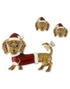 {Santa Dachshund Pin and Earrings Set} Betsey Johnson