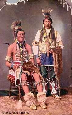 Blackfoot, circa 1890.  The Blackfoot Confederacy had territory that stretched from the North Saskatchewan River along what is now Edmonton, Alberta, in Canada, to the Yellowstone River of Montana in the US, and from the Rocky Mountains and along the South Saskatchewan River to the present Alberta-Saskatchewan border east past the Cypress Hills. (V)