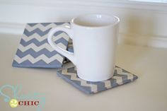 DIY Chevron Coasters
