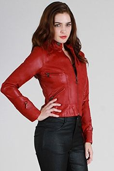 Rocker Chic Moto Inspired Faux Leather Cropped Biker Jacket - Red, L Fourever Funky