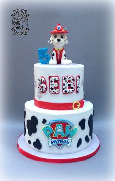 Paw Patrol Birthday cake - Marshal figurine, black, white and red