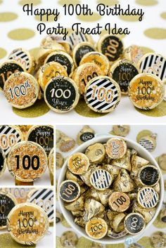 Celebrate this special birthday milestone with these gold and black 100th birthday party favor stickers that will be a sure hit at your party. #100thbirthday