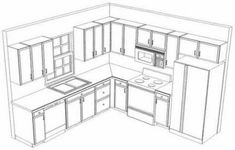 L shaped kitchen cabinet design is able to be applied in all kinds of kitchens. You can consider combining your L shaped kitchen cabinet design with this island L Shape Kitchen Layout, Kitchen Layout Plans, Kitchen Layouts With Island, Kitchen Cabinet Layout, Kitchen Ideas, Kitchen Cabinets, Kitchen Decor, Design Kitchen, Kitchen Countertops