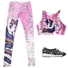 Poprageous My Little Pony Pinkie Pie leggings, $70, poprageous.com; Poprageous My Little Pony Twilight Sparkle sporty crop top, $49, poprageous.com; Dior Fusion sneaker in black technical fabric, price upon request, for information: dior.com