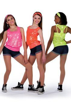 14376 - Transform Me colors: 92 Glo Orange, 93 Hot Pink, 96 Chartreuse Hip Hop Outfits, Dance Outfits, Dance Dresses, Sport Outfits, Hip Hop Costumes, Cute Dance Costumes, Costumes 2015, Dance Recital, Dance Class