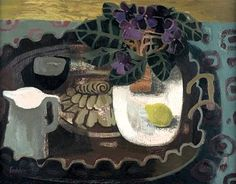 Mary Fedden.  The Inlaid Tray, 1950's,   oil,  61 x 76cm.