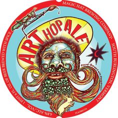 Magic Hat Art Hop Ale Beer Label - Fans of Whisker Wars will appreciate this off-the-wall label. This hop-bearded gentleman has more surprises in his facial hair than Captain Caveman.