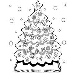 Christmas Tree Coloring Page Christmas Coloring Sheets, Printable Christmas Coloring Pages, Free Christmas Printables, Free Printable Coloring Pages, Coloring Pages For Kids, Free Coloring, Preschool Christmas, Noel Christmas, Christmas Activities