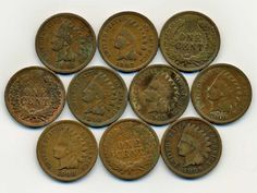 Lot: 10 US Indian Cent Coin Lot, Lot Number: 0376, Starting Bid: $20, Auctioneer: American Pacific Auctions, Auction: HUGE OPENING BID PRICE CUTS 1200 LOTS-NO RESV, Date: January 14th, 2017 PST
