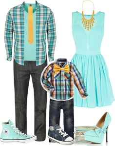 """Spring Family Photo!"" by krystalbay ❤ liked on Polyvore  Love this except I would ply have one of the boys wear plaid, not both!"