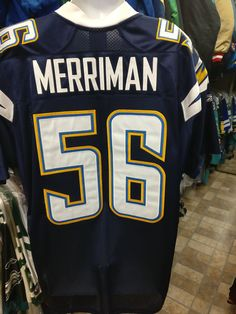 Vtg 56SHAWNE MERRIMAN San Diego Chargers NFL Reebok Authentic Jersey50 cfbc85a98ef6