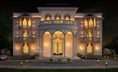 Luxury Villa Exterior Design on Behance Classic House Exterior, Classic House Design, Dream House Exterior, Dream Home Design, House Outside Design, House Front Design, Townhouse Exterior, Modern Villa Design, Bungalow House Design