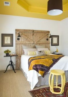 DIY Barn Door Headboard, but I also like the yellow ceiling and white walls. Decor, Furniture, Home, Home Bedroom, Bedroom Design, Bedroom Inspirations, Barndoor Headboard, Interior Design, Yellow Bedroom