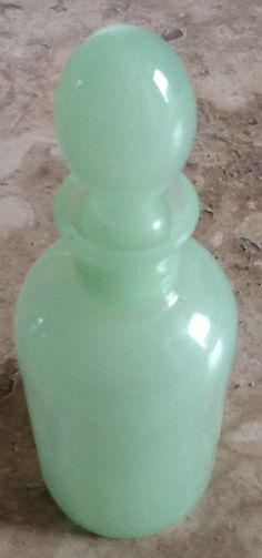 Jadite Perfume Bottle Ground Glass Stopper by Pegalee on Etsy, $25.00