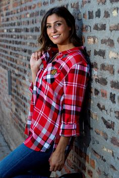 Skylar is wearing the Ladies University Girls Boyfriend Plaid ($60). Visit the Blackhawks Store to stock up on new styles for fall! Blackhawks Store, University Girl, Flannel, Boyfriend, Plaid, Brand New, Fall, Girls, How To Wear