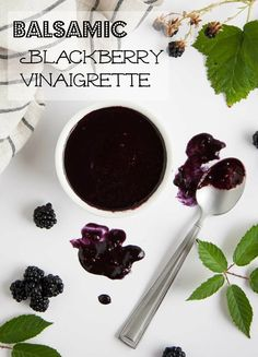 Balsamic Blackberry Vinaigrette - This tangy blackberry vinaigrette has just the right balance of sweet and savory to rock your tastebuds with a fresh new use for summertime blackberries. - Feasting Not Fasting Salad Dressing Recipes, Salad Dressings, Cooking Recipes, Healthy Recipes, Vegetarian Recipes, Healthy Eats, Healthy Dinners, Fruit Recipes, Sauce Recipes