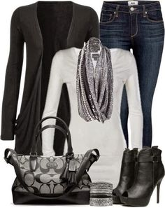 Attractive polyvore set for fall fashion with black cardigan and high heels