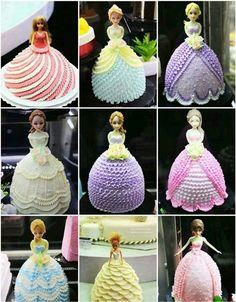 :) Bolo Barbie, Barbie Cake, Doll Cake Designs, Dolly Varden Cake, Barbie Birthday Cake, Dress Cake, Cake Decorating Tutorials, Cute Cakes, Creative Cakes