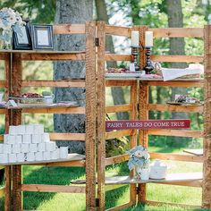 Brides.com: A Romantic Outdoor Wedding in Montana. Décor Inspiration for a Rustic Destination Wedding A wood serving shelf—fashioned from kitchen cutting boards—served as a clever coffee-and-appetizer station at this couple's rustic, outdoor ranch wedding. See more photos from this couple's rustic destination wedding.