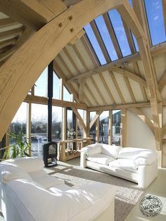 Green Oak Truss Frame with Exposed Rafters and Glazed Roof Section