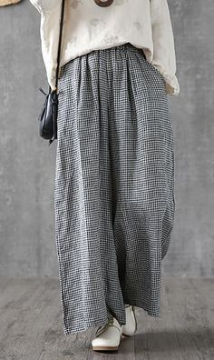 Elegant linen cotton women Omychic Vintage Plaid Linen Ankle Length Wide Leg Pants Source by DressOriginal Girly Outfits, Mode Outfits, Classy Outfits, Casual Hijab Outfit, Elegant Outfit, Pants Outfit, Wide Leg Linen Pants, Wide Leg Pants, Ankle Pants